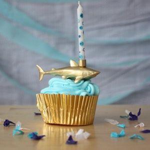 Gold Sea Creature Shark Birthday Candle Holder